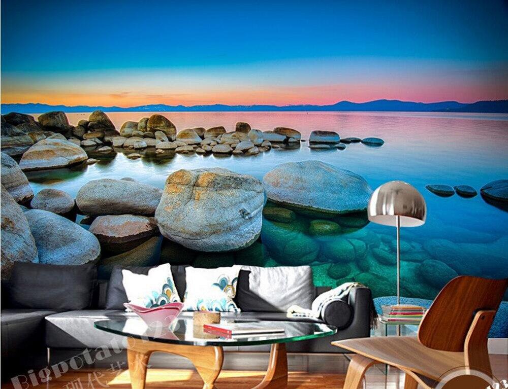 Custom 3d murals, Beautiful fire clouds blue sky stone lake scenery papel DE parede,living room sofa tv wall bedroom wallpaper