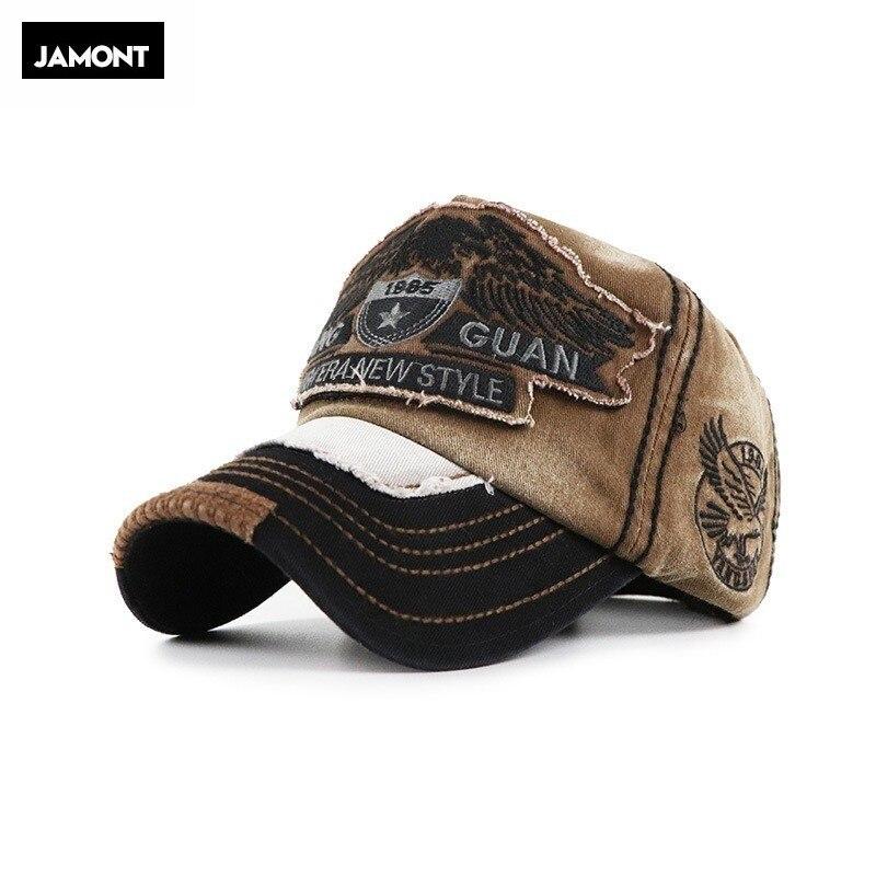 JAMONT Hot Retro Washed Baseball Cap Fitted Cap Snapback Hat For Men Bone Women Gorras Casual Casquette Letter Black Cap