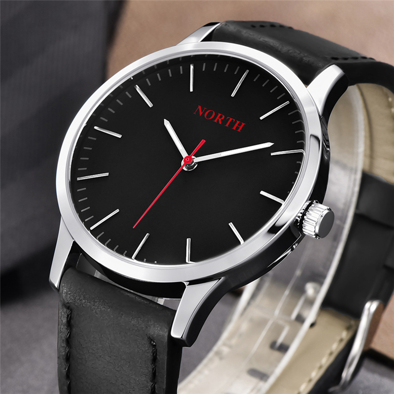 NORTH Mens Watches Top Brand Luxury Fashion Quartz Watch Men Casual Leather Strap Waterproof Sport Wrist Watch Relogio Masculino цена