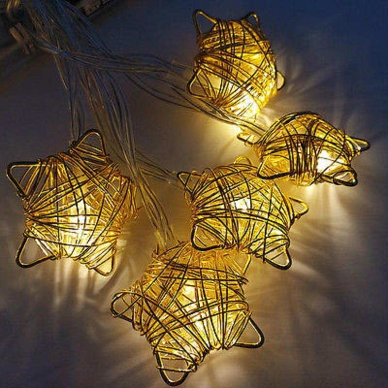 Star Fairy Lights 10 Warm White LED Indoor Bedroom ...