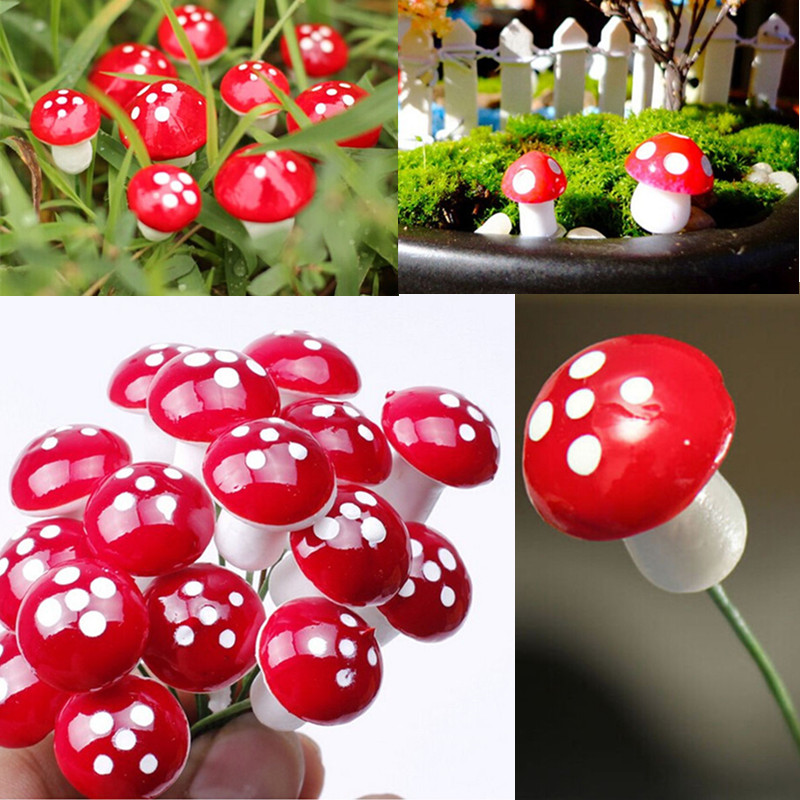 NEW Hot Sale 10Pcs 2cm Artificial Mini Mushroom Miniatures Fairy Garden Moss Terrarium Resin Crafts Decorations Stakes Craft