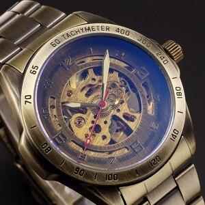 Image 2 - W starym stylu automatyczny mechaniczny zegarek szkielet Vintage mosiądz stalowy zegarek męski szkielet Steampunk zegar mężczyzna niebieska tarcza