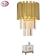 Youlaike Gold LED Wall Sconce Lighting Living Room Bedroom Crystal Lamps AC110-240V Indoor