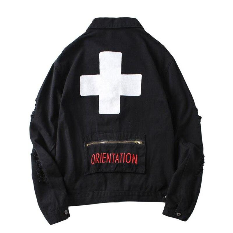 Poche arrière zippée de hommes veste en jean 2018 automne tourner la croix vers le bas col mendiant Hip hop veste en denim vestes la croix hommes