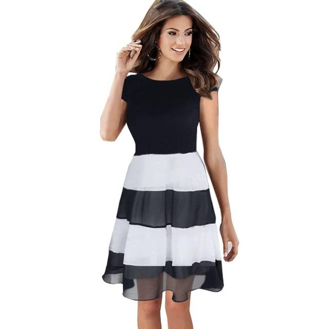 ab2e0876b6a New Women Fashion Stitching Folds Dress Brief Black White Striped Short- sleeved Chiffon Clothing Big Swing Cheap Clothes China