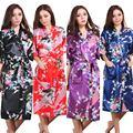 RB053  2016 Rayon Longue Bathrobe Womens Kimono Satin Long Robe Sexy Lingerie Hot Nightgown Sleepwear with Belt XXXL
