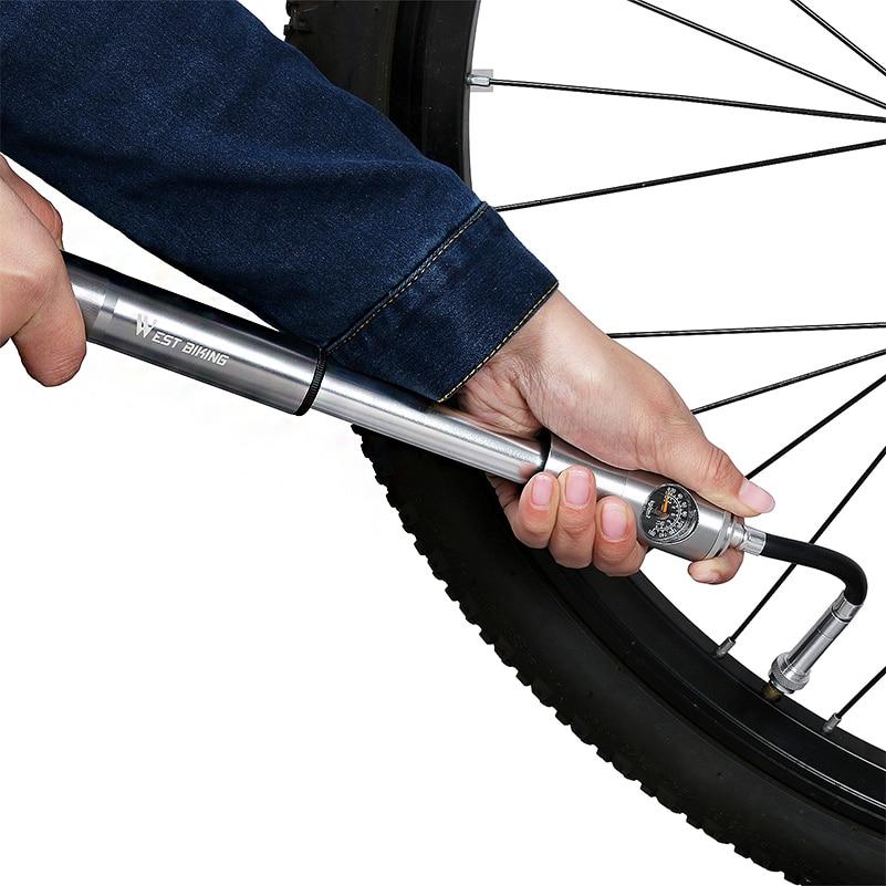 WEST BIKING велосипедный ручной воздушный насос шланг манометр Велоспорт шин насос Schrader Presta вилка клапана портативный мини-насос