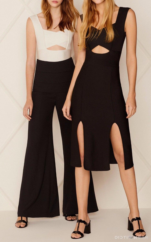 Mode Chic robe noire Sexy col en v sans manches taille évider balançoire Bifurcate conception célébrité fête Bandage