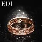 Bandas de oro rosa auténtico de 18 quilates de 0,02 cttw, anillos de boda de corte redondo para mujeres, diseño floral, regalos de joyería fina - 3