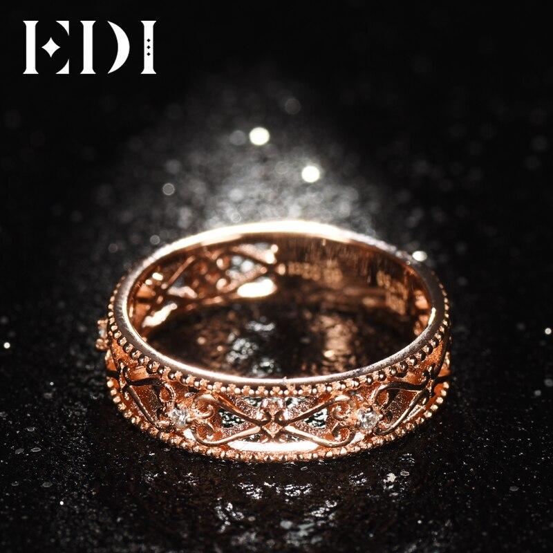 EDI véritable véritable 18 k or Rose bandes diamant naturel 0.02 cttw rond coupe anneaux de mariage pour les femmes fleur Design bijoux fins cadeaux - 3