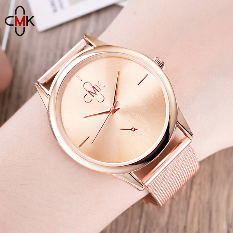 2018 Hot New Fashion Rostfritt Stål Svart Guld & Silver Band Quartz Watch Lyxiga Kvinnor Enkel Klocka Flicka Vän Gift Mesh Stål