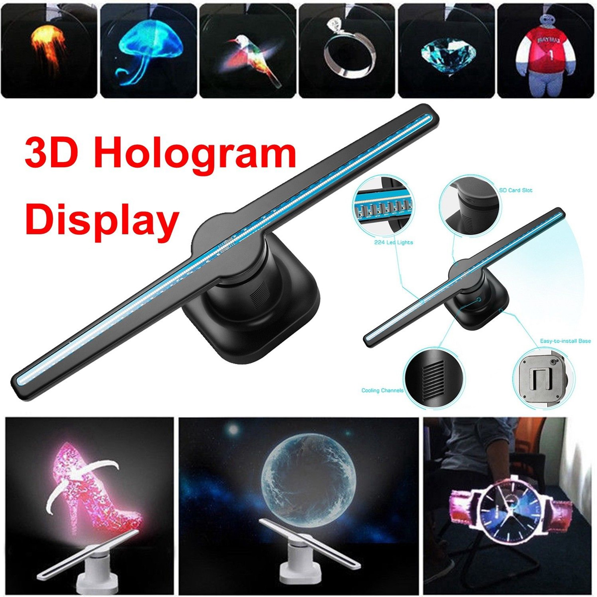 Smuxi Full 3D Holographic Graphics LED lamp Fan Display Picture Video Hologram Player Unique Hologram Projector 4500 lumens 3d dlp short throw video projector windows hologram