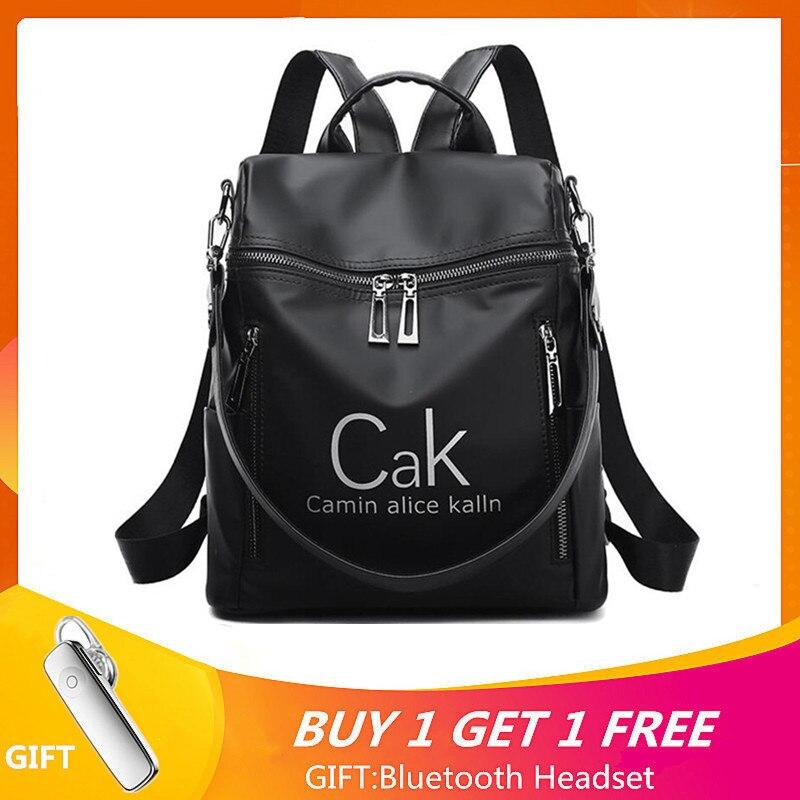 CAK Luxus Marke Frauen Rucksack Taschen Schwarz Nylon Wasserdichte Hohe Qualität Reise Rucksack Für Junge Dame College Stil Weiblichen Beutel