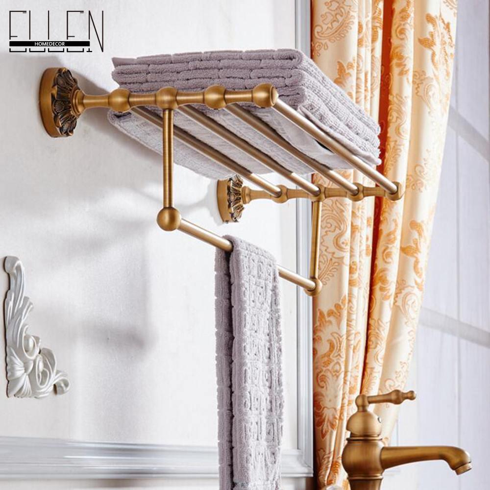 Bathroom Accessories Double Towel Rack  Antique Bronze Wall Mounted Towel Shelf Towel Holder-84062