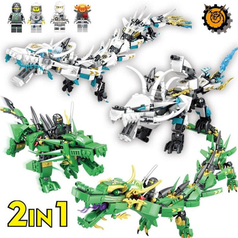 4 estilos LegoINGly Ninjago película vuelo Mecha dragón transformar DIY Ninja bloques construcción Compatible con Legoing Ninjagoes