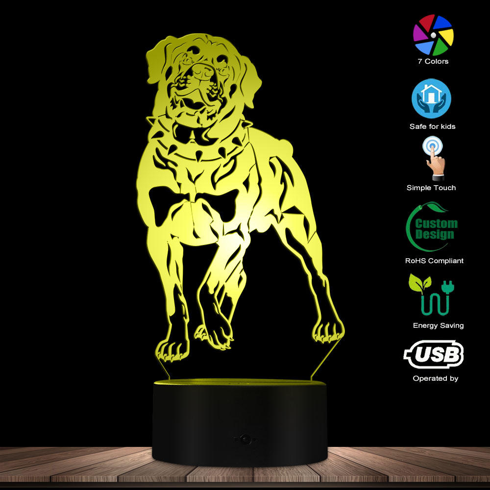 Domestic Dog Rottweiler 3D Led Light Laser Engraving Acrylic Decorative Dog Breed Rottie Lighting Mood Lamp Kid Room Night Light