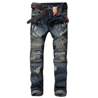 GMANCL Biker Men Jeans Homme Hip Hop Pleated Hole Slim Fit Distressed Ripped Denim Male Stone