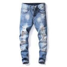 2019 Fashion Mens Blue Hole Jeans Luxury Men Slim Denim Trousers Slim Pencil Pants Blue Jeans for Men Hip Hop Jeans цены