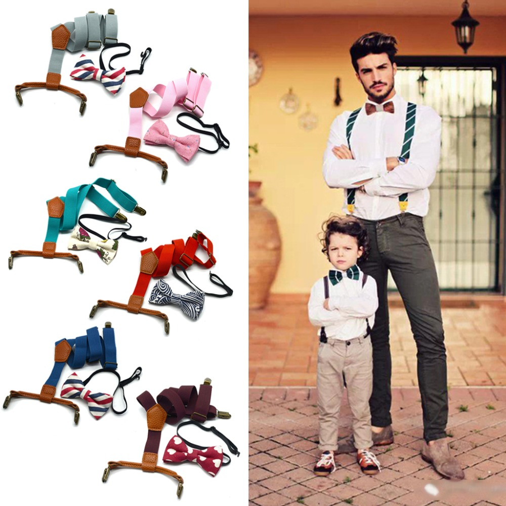 Baby Boy's Kids Bow Ties Sets Baby Boys Wedding Matching Braces Suspenders And Luxury Bow Tie Set