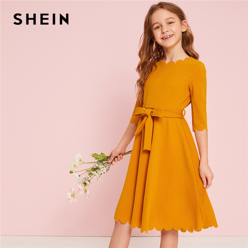 SHEIN Kiddie Ginger Solid Scalloped Hem Girl Party Dress With Belt 2019 Summer High Waist Cute A Line Knee Length Flared DressesSHEIN Kiddie Ginger Solid Scalloped Hem Girl Party Dress With Belt 2019 Summer High Waist Cute A Line Knee Length Flared Dresses