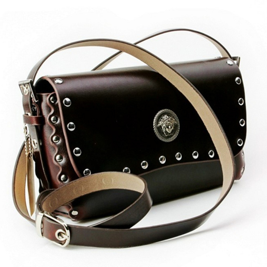 2018 Women Vintage Fashion Women Messenger Bags Rivet Chain Shoulder Bag High Quality Genuine Leather Crossbody Quiled Handbag