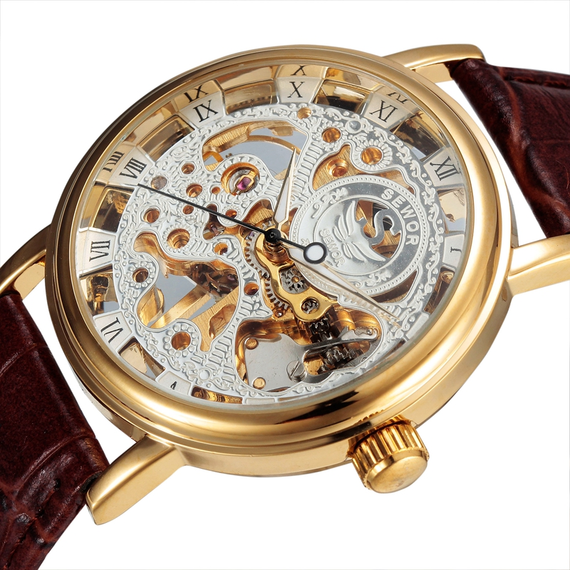 Sewor Brand Watch Men Design Skeleton Clock Luxury Gold Hand Wind Mechanical Leather Wrist Male Business Watch SWQ25 цена и фото
