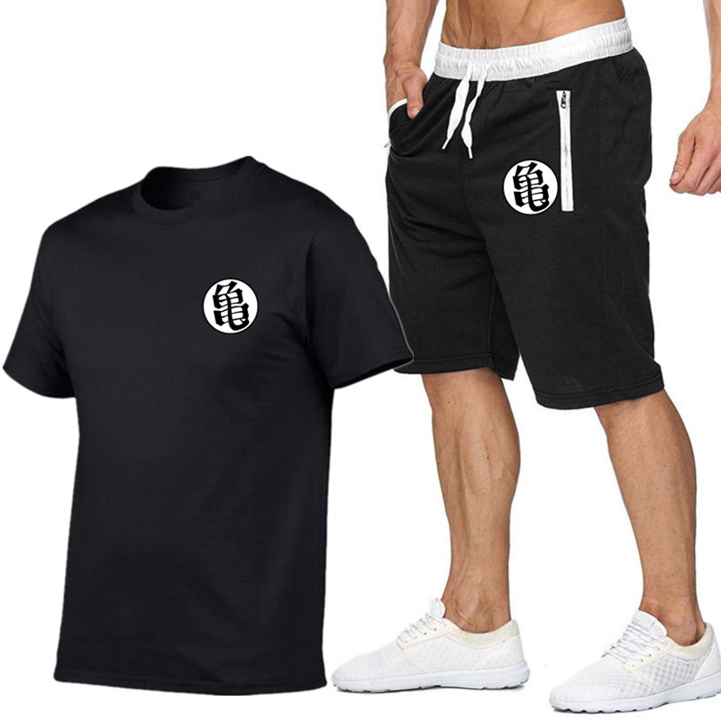 Summer Men'sT-shirt Short Sleeves And Shorts Set Casual Fashion Sport Pure Black Printed Cotton T-shirt And Polyester Shorts Set