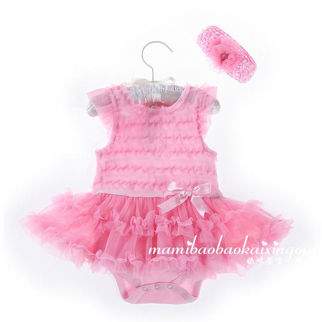 2016 bebé recém-nascido princesa rosa flor Lace Tutu vestido de verão do bebê bodysuit vestido de tule 2 pcs infante recém-nascido roupa