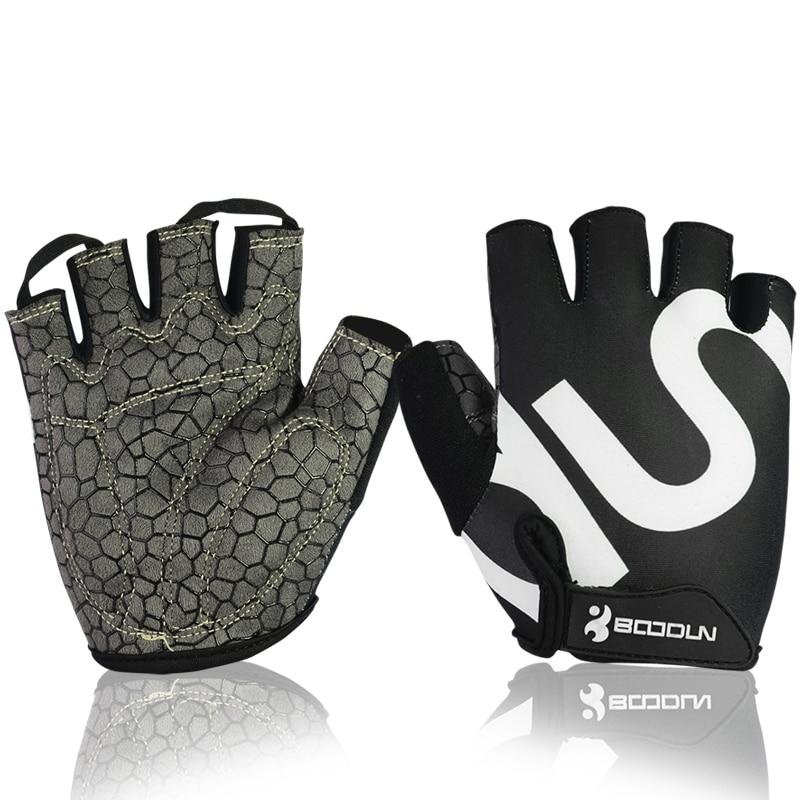 Prix pour Boodun crossfit gym gants hommes femmes body building mitaines fitness gant anti slip poids de levage sport formation moitié doigt