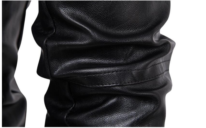 Heren lederen jassen slanke motorfiets jas mannen jassen kleding gepersonaliseerde jaqueta de couro stage street Korte hoofdstuk mode - 6