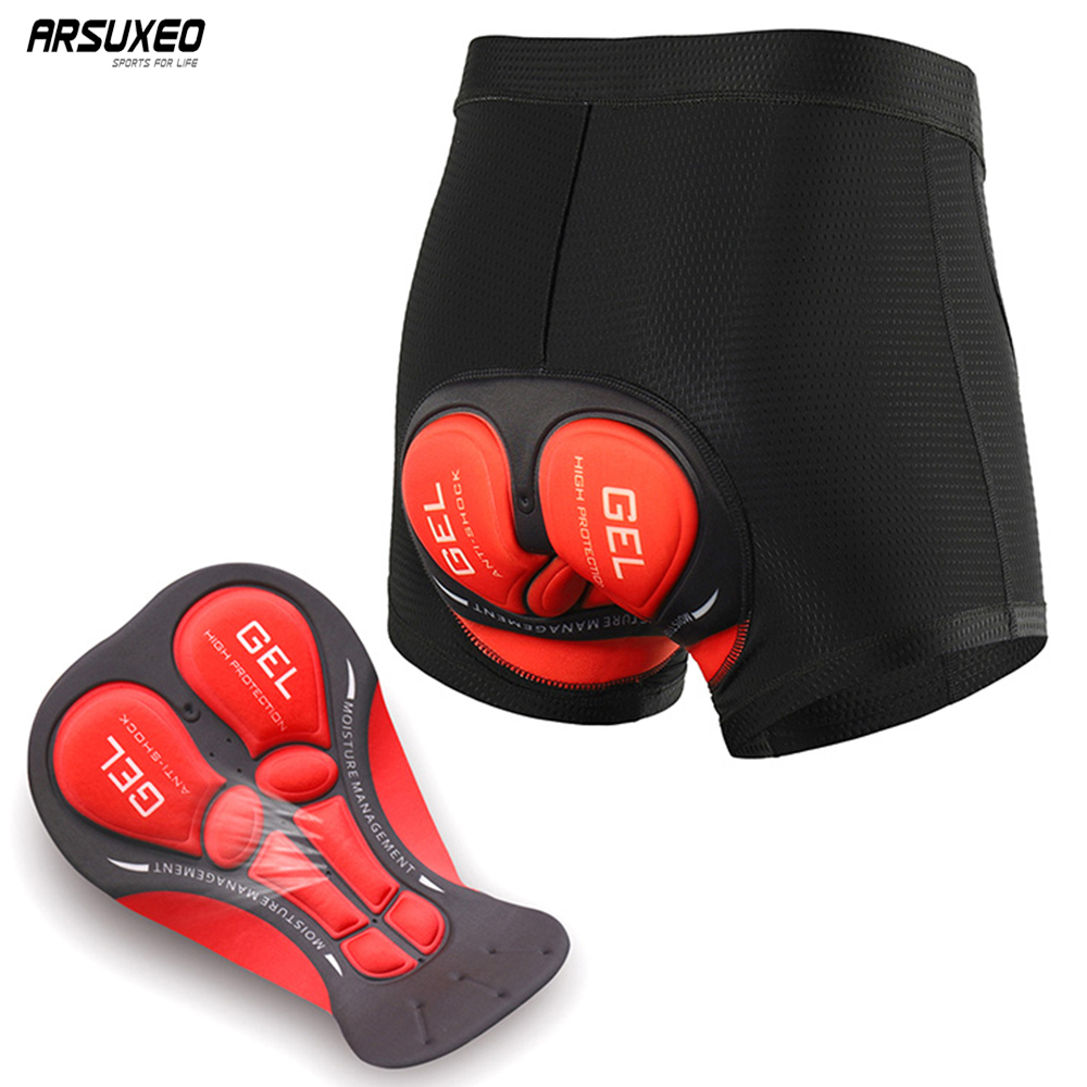 ARSUXEO Men's Cycling Underwear MTB Mountain Bike Bicycle Under Shorts 3D Padded Cycling Shorts Comfortable Riding Sportwear