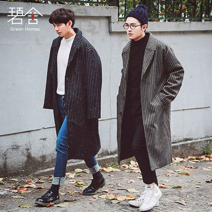 S-3XL!!2018 trench male medium-long loose fashion stripe single breasted woolen outerwear male