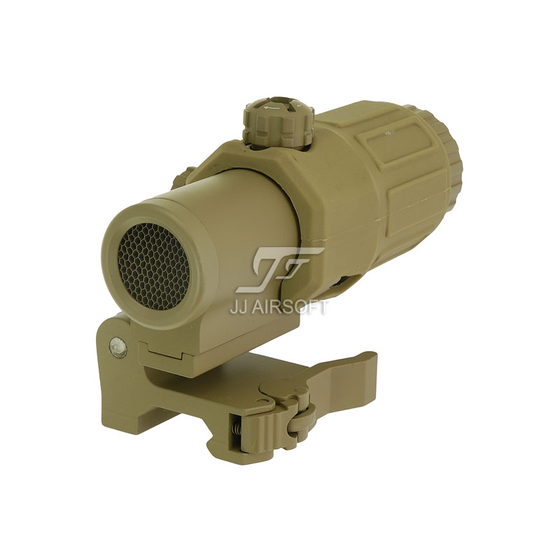 JJ Airsoft 3X Magnifier with Switch to Side STS Quick Detachable / QD Mount & Killflash / Kill Flash (Tan)