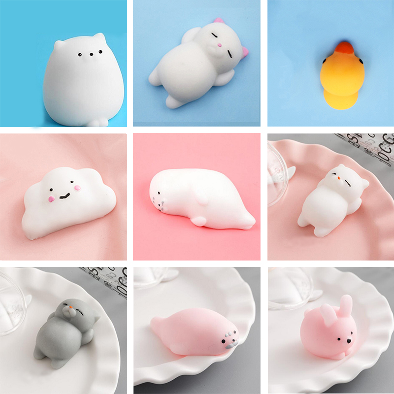 Funny Gift Cute Anti-stress Squishy Toys Lovely Soft Silicone Hand Squeeze Baby Toy Kawaii Squishes Animals Bear Rabbit WY30