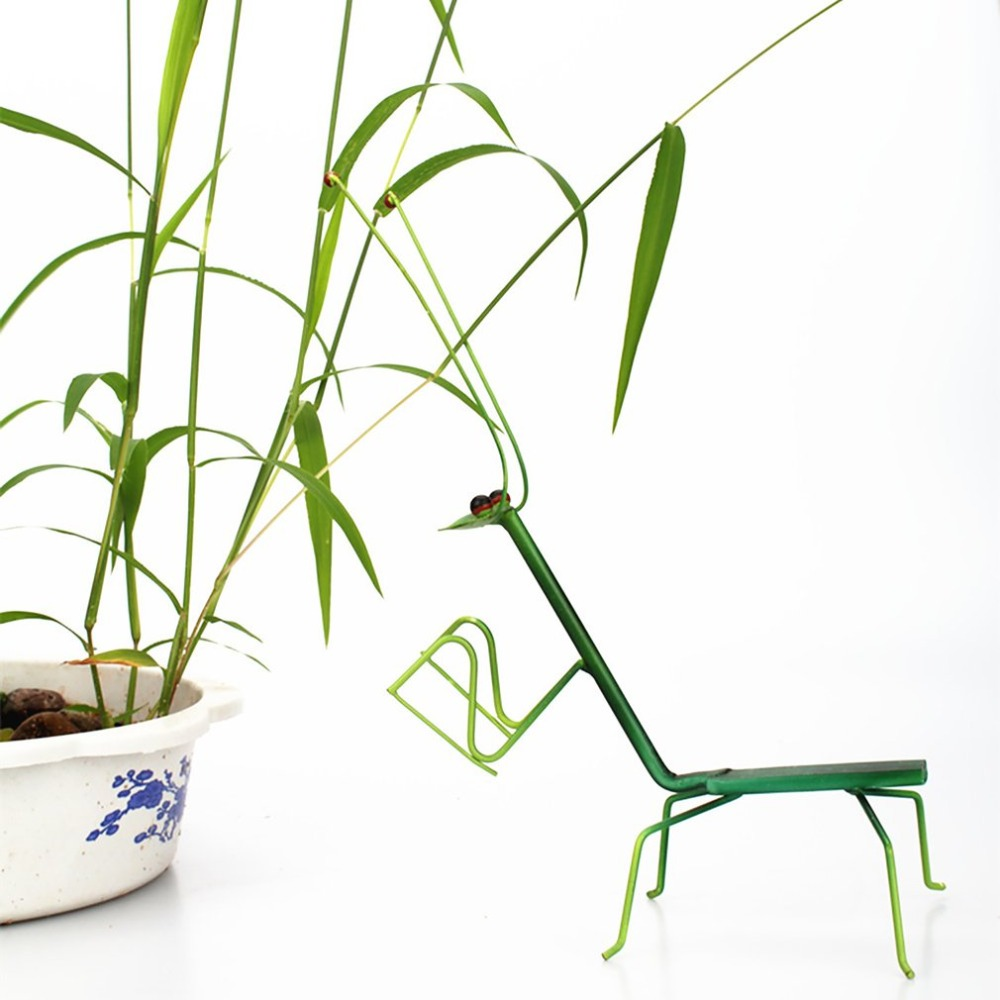 Realistic Green Mantis Iron Flower Pot Decoration Insect Ornament Figurine Garden Potted Plant Decoration Crafts Miniature Toys