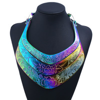 Missxiang New Fashion Exaggeration Necklaces Big Name Retro Multi Layer Colorful Collars Flowers And Birds Pattern