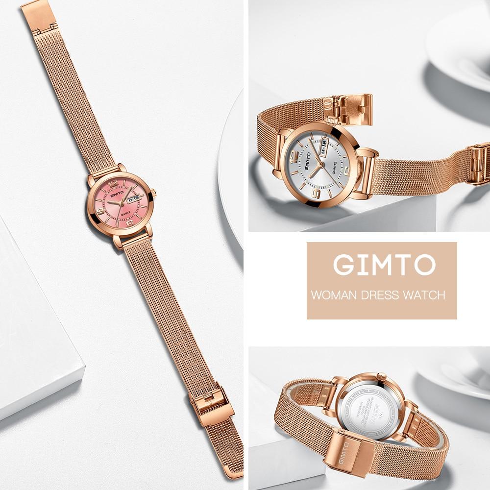 GIMTO Mini Dress Women Watches Silver Brand Quartz Ladies Watch Fashion Girl Bracelet Wristwatch Relogio Feminino Montre Femme 6