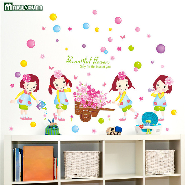 Decoratie Stickers Kinderkamer.Yunxi Mooie Drijft Meisje Stickers Kinderkamer Woonkamer Slaapkamer