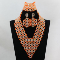 Shining Wedding Custom Jewelry Set Amazing African Beads Jewelry Sets Large Stock Free Shipping hx956