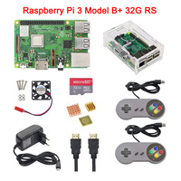In Stock Raspberry Pi 3 Model B+ Plus+Acrylic Case+CPU Fan+16G 32G SD Card+5V 3A Power Adapter+2 Gamepads+HDMI Cable+Heat Sink
