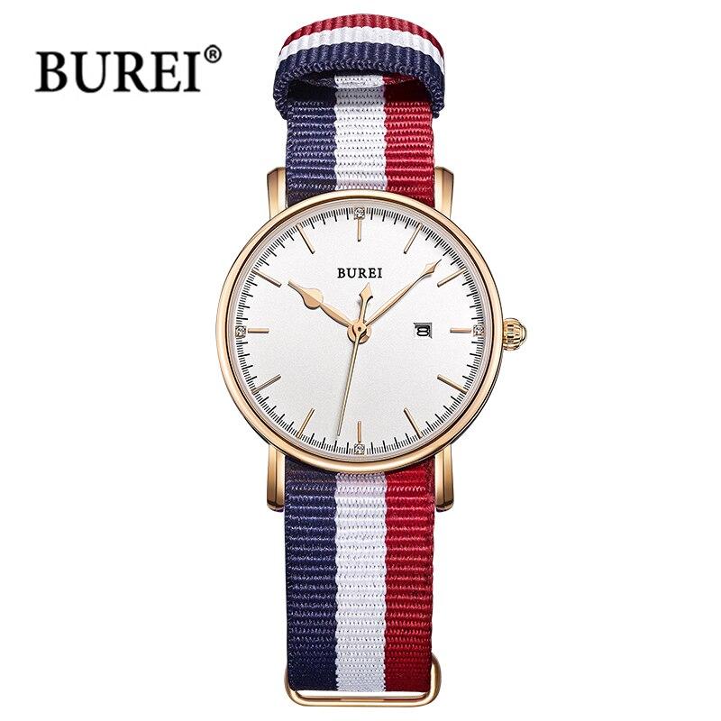 BUREI Women Watches Ladies Thin Simple Europe Design D Style W Nylon Quartz Wrist Watch Calendar