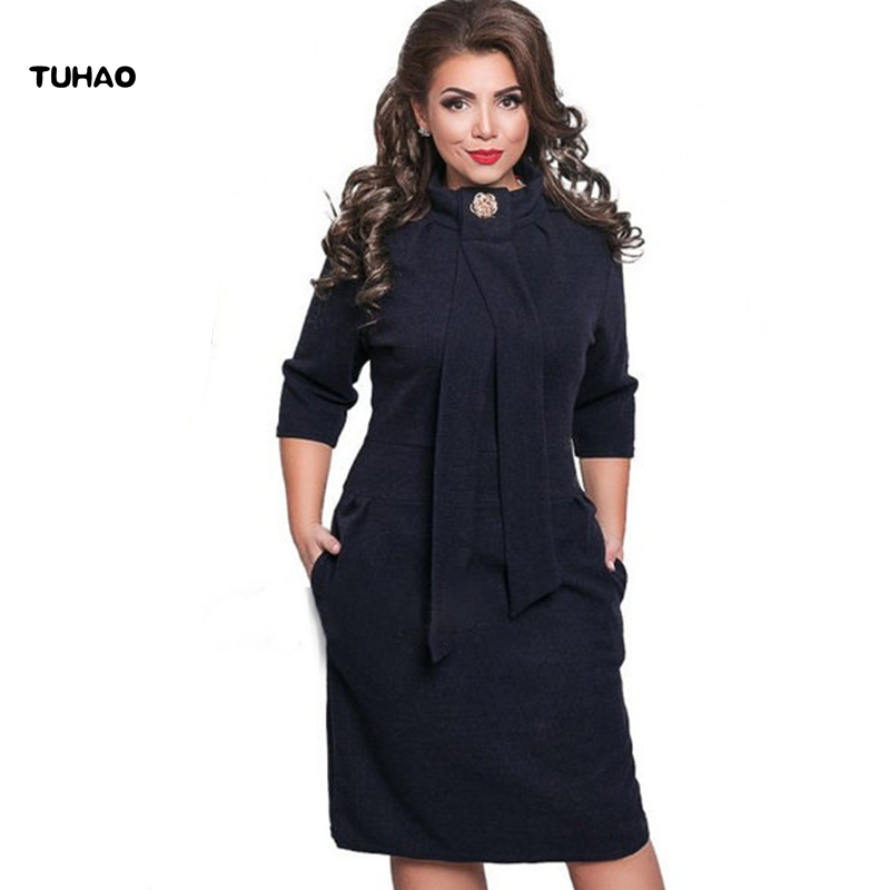TUHAO Dress female Clothes 2017 autumn stand solid office lady dresses for women large size big size pencil woman's cloth  ND01