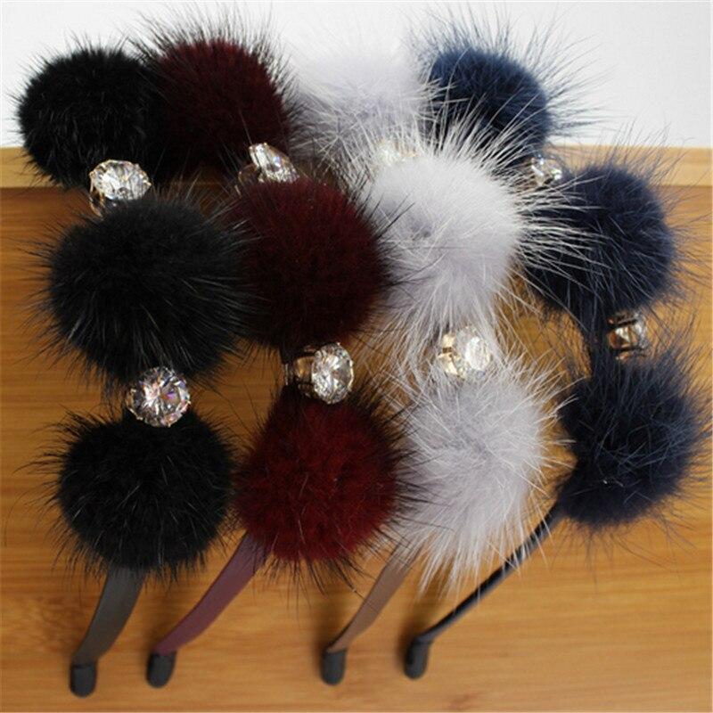 2020 New Genuine Fur Pomp Bow With Gems Elegant Women Headband Fashion Women Romantic Winter Hair Accessories