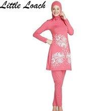 Women Printing Islamic Swimwear Muslim Swimsuit New Full Covered Ladies Long Sleeve Modest Islamic Bathing Suit Plus Size S-4XL