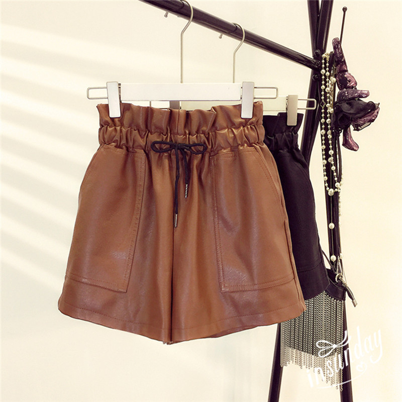 Autumn New Korean Style Female Sexy Leather Shorts High Waist Loose Wide Leg Short Femme Elastic Waist Belt Free Shipping