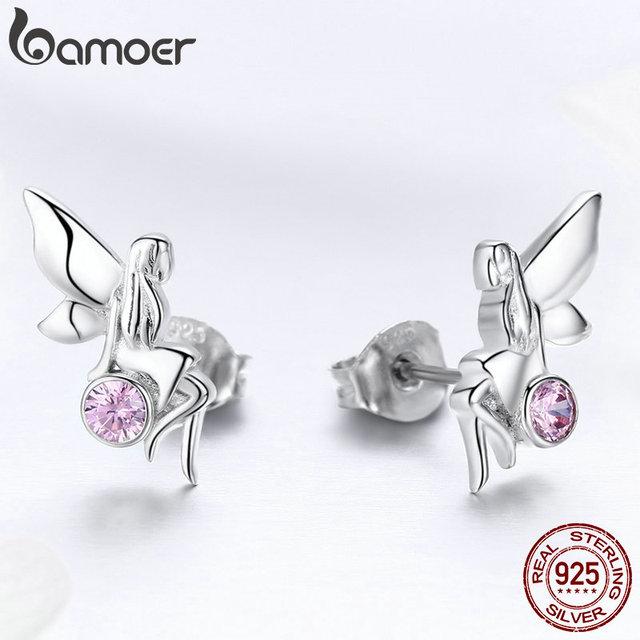 925 Sterling Silver Flower Fairy Pink Stud Earrings for Women 4