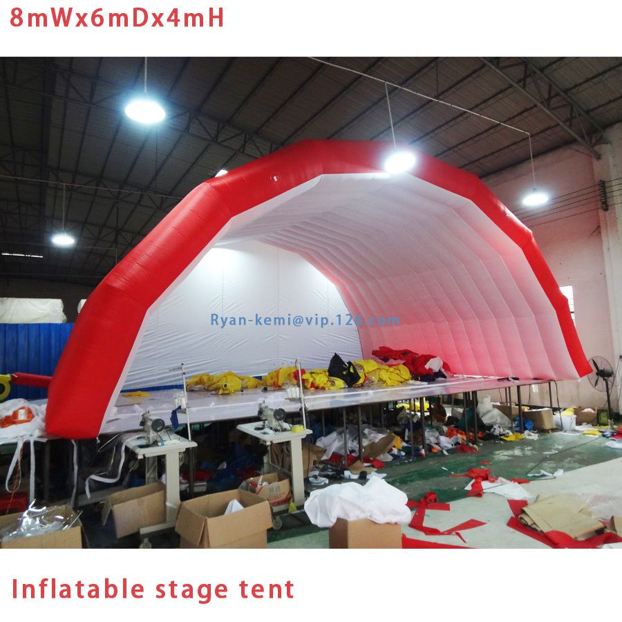 Free shipping red white 8x6x4mH giant inflatable stage tent Commercial Inflatable tent outdoor events inflatable marquee 6 8x4x3 4m oxford cloth inflatable stage tent inflatable stage cover inflatable canopy tent for concert with free shipping