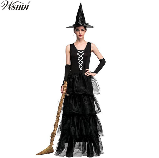 428d3d7d3a9 New Sexy Black Vampire Witch Costume Adult Women Magic Moment Costume Witch  Halloween Fancy Dress