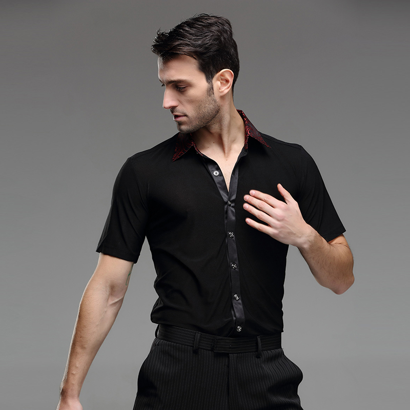 Picture of Black Mens Latin Shirts Dance Top Mens Ballroom Dancewear Mens Latin Dance Costumes Stage Clothing For Men Ballroom Clothes