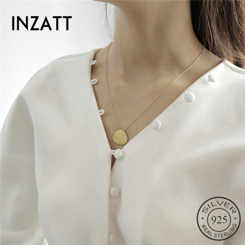 Inzatt Nyata 925 Sterling Silver Minimalis Shell Kalung untuk Fashion Wanita Aksesoris Wanita Trendi Hadiah Ulang Tahun Baik Perhiasan 2019